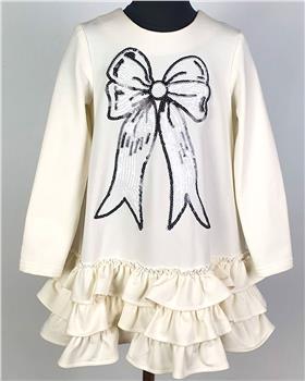 Daga girls winter dress with black sequin bow M8051-20