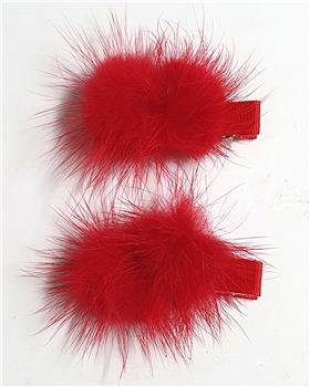 Daga girls red fur pom slide A2085-20