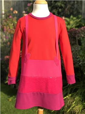 Agatha Ruiz red/pink/purple sequin pinafore dress 7VE3384-20