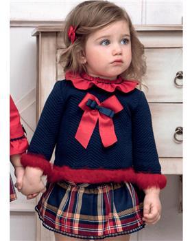 Miranda baby girls tartan trim top & panties 28-0149-23 Navy