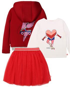 Billieblush girls heart top red skirt & hooded jacket U15787-256-768