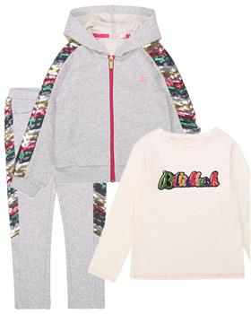 Billieblush Girls 3 Piece grey sequin sleeve Jogsuit U15765-U14387-20