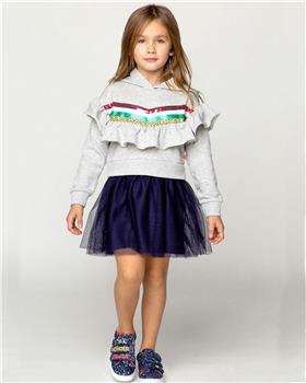 Billieblush Girls Grey Hoody Dress with net skirt  U12598-20 GREY