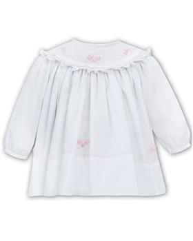 Sarah Louise white & pink long sleeve dress 012023-20 Wh/Pk