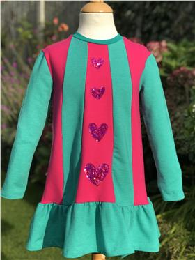 Agatha Ruiz pink/green striped heart sequin dress 7VE3383-20