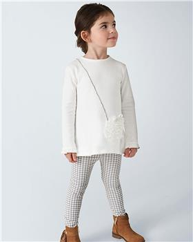 Mayoral girls checked legging set with bag top 4723-20 Grey