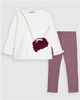 Mayoral girls checked legging set and bag top 4723-20 Wine