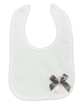 Angelas cotton bib with bow detail 221-GR-PK
