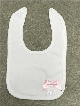 Angelas cotton bib with bow detail 221-PK-WH