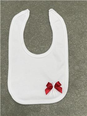 Angelas cotton bib with bow detail 221-RD-WH