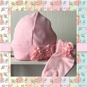 Angelas baby beanie hat & bib 401 PK-PK