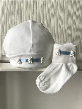 Angelas baby beanie hat & bib 401 WH-BL Ted