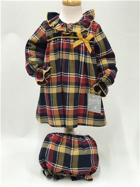 Yoedu baby girls tartan dress 5101-20