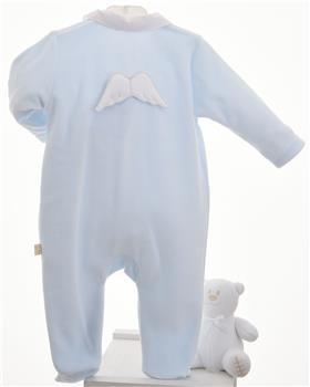 Baby Gi blue velour baby grow BG53AAS-BL