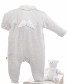 Baby Gi grey velour baby grow BG53ACS-GR