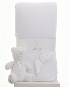 Baby Gi white angel wing blanket BG60LAB-WH