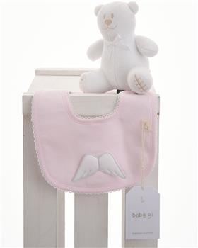 Baby Gi pink cotton little angel bib BG24LAR-PK