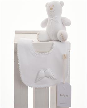 Baby Gi white cotton little angel bib BG24LAB-WH