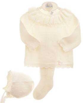 Martin Aranda baby girls 3 piece footsie set 004-10013 cream