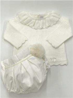 Martin Aranda baby girls jumper & jam pant 010-30013 ivory
