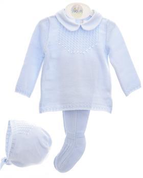 Martin Aranda baby boys jumper, footsie & bonnet 004-10004 Blue