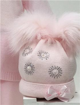 Little Nosh Baby Girls Pom Hat RAZZLE PINK