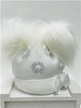 Little Nosh Baby Girls Pom Hat RAZZLE WHITE