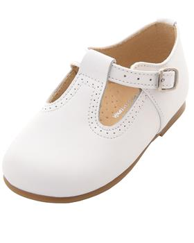 Panyno Boys Leather T-Bar Shoes B2010 White