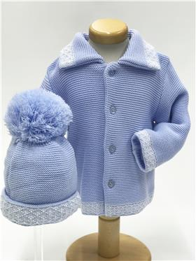 Boys Chunky Cardigan & hat 000 Blue