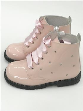 Andanines girls lace up ankle boot 182854 pink patent