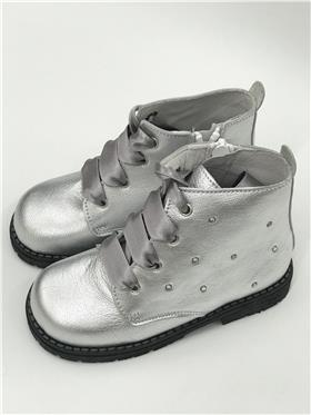 Andanines Girls Lace Up Boots 182854 Silver