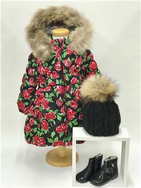 Bufi Girls Fur Trim Floral  Coat B10391A