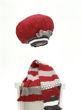 Deux par Deux beret & scarf NAB RED
