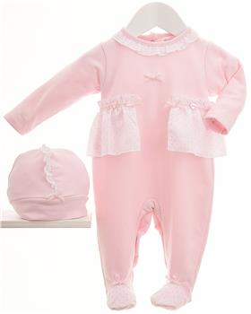 Pastel & Co baby girl all in one & hat 008B Feather