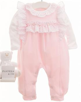 Pastels & Co baby girls dungaree & top 008C Feather