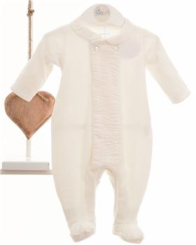 Laranjinha neutral ivory velour baby grow all in one 5255