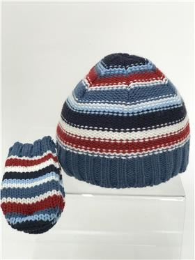 Petit Cadeau baby boys stripe beanie hat & mitts 7W625 Airforce
