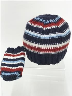 Petit Cadeau baby boys hat & mitts 7W625 Navy-Wine