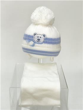 Martin baby boy hat & scarf TEDDY WH-BL