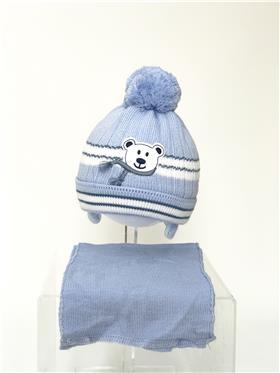 Martin baby boy hat & scarf TEDDY BL-WH