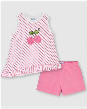 Mayoral girls cherry top & shorts 3212-021 pink
