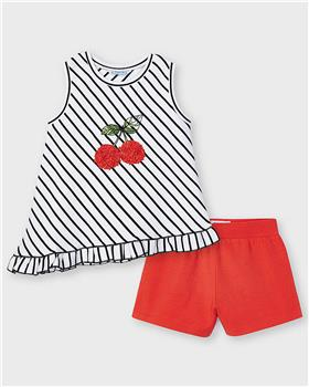 Mayoral girls cherry top & shorts 3212-021 red