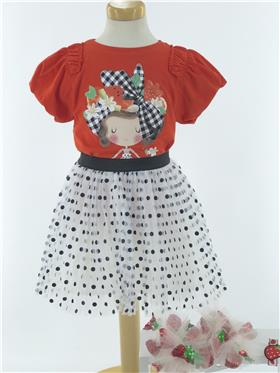 Mayoral girls top & skirt 3002-3903-021 red