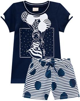 Milon girls top & short  12680-6826 Navy
