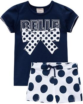 Milon summer girls Belle Bow T-shirt & short 12629-6826 navy