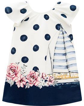 Milon girls summer spots & flower dress 12622-6826 navy