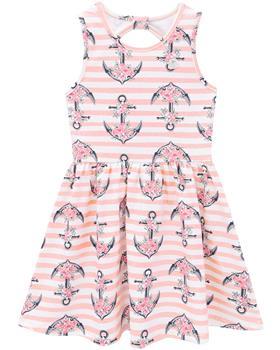 Milon girls summer anchor & stripe dress 12829-40085