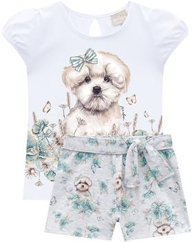 Milon girls summer puppy dog T-shirt & short 12818-0001 white