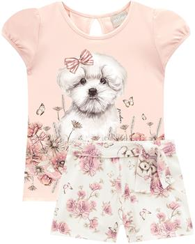 Milon girls summer puppy dog T-shirt & short 12818-40084 pink