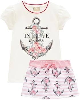 Milon summer girls anchor T-shirt & skort 12823-0452 pink